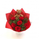 Rose Bouquet with Teddy Bear