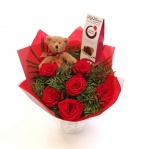 Rose, Teddy & Chocs Bouquet