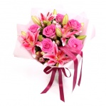 Pink Lily & Rose Bouquet