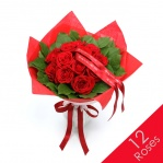 Luxury Red Rose & Salal Bouquet