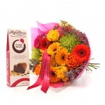 Vivid Bouquet & Crispy Heart Chocolates