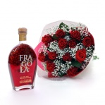 Red Rose Bouquet & Strawberry Liqueur