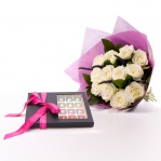 Avalanche Rose Bouquet & Personalised Truffles