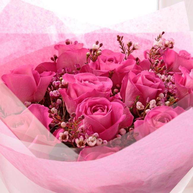 Pink Rose & Wax Flower Bouquet