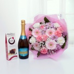Luxury Pastel Bouquet with Chocolates & Prosecco