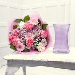 Pretty Pink Gift Bouquet & Lilac Glass Vase