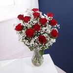 Dozen Red Roses & Gypsophila Bouquet