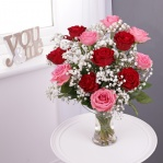 Dozen Red & Pink Roses with FREE Glass Vase