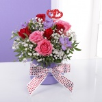 Twin Heart Red Rose Hatbox