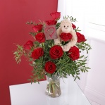 Cheeky Monkey Rose Bouquet & Chocolate Heart