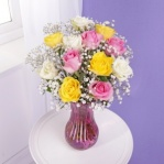 Roses & Gypsophila with FREE Glass Vase